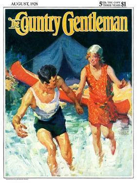 """""""Camping Couple Goes Swimming,"""" Country Gentleman Cover, August 1, 1928 by William Meade Prince"""