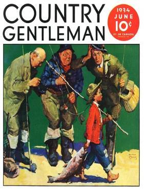 """""""Cane Pole Catch,"""" Country Gentleman Cover, June 1, 1934 by William Meade Prince"""