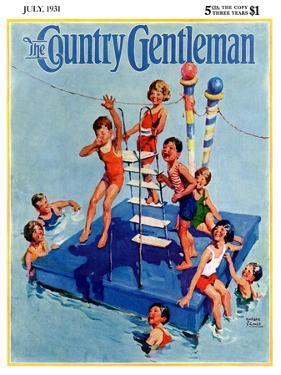 """""""Children on Swimming Platform,"""" Country Gentleman Cover, July 1, 1931 by William Meade Prince"""