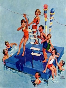 """""""Children on Swimming Platform,""""July 1, 1931 by William Meade Prince"""