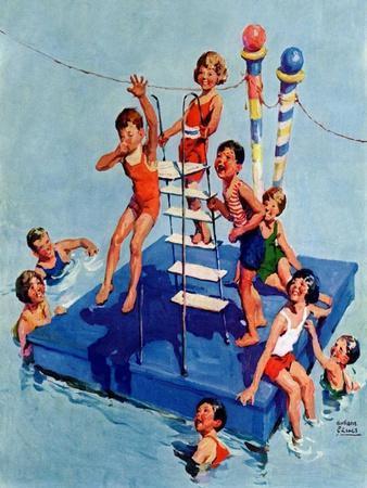 """Children on Swimming Platform,""July 1, 1931"