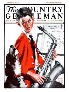 """""""Dog Doesn't Like Sax Sounds,"""" Country Gentleman Cover, March 28, 1925 by William Meade Prince"""