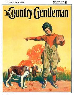 """""""Go Home, Boy!,"""" Country Gentleman Cover, November 1, 1928 by William Meade Prince"""
