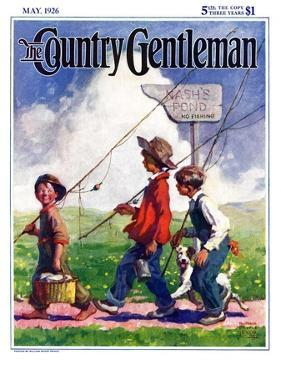 """""""Going Fishing,"""" Country Gentleman Cover, May 1, 1926 by William Meade Prince"""