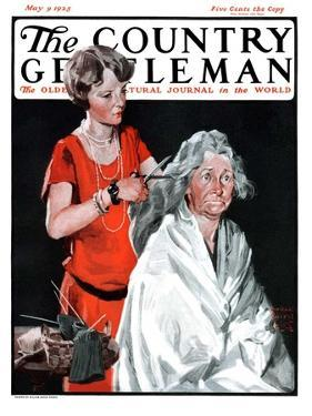 """""""Grandma Bobs Her Hair,"""" Country Gentleman Cover, May 9, 1925 by William Meade Prince"""
