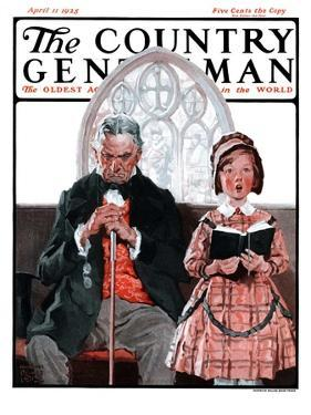 """""""Grandpa Sleeps, Girl Sings in Church,"""" Country Gentleman Cover, April 11, 1925 by William Meade Prince"""