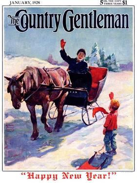 """""""'Happy New Year',"""" Country Gentleman Cover, January 1, 1928 by William Meade Prince"""