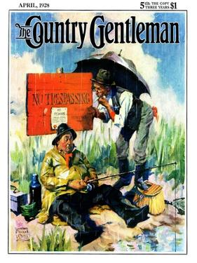 """""""'No Trespassing',"""" Country Gentleman Cover, April 1, 1928 by William Meade Prince"""