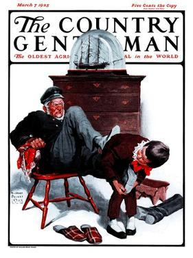 """""""Removing Sailor's Boots,"""" Country Gentleman Cover, March 7, 1925 by William Meade Prince"""
