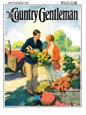 """""""Roadside Stand,"""" Country Gentleman Cover, September 1, 1927 by William Meade Prince"""