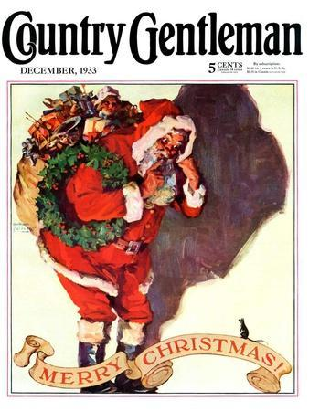 """""""Santa and Christmas Mouse,"""" Country Gentleman Cover, December 1, 1933"""