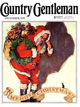"""Santa and Christmas Mouse,"" Country Gentleman Cover, December 1, 1933 by William Meade Prince"