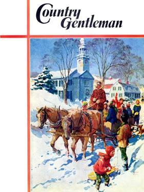 """""""Sleigh Ride Through Town,"""" Country Gentleman Cover, December 1, 1939 by William Meade Prince"""