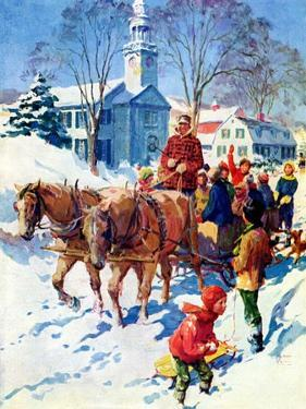 """""""Sleigh Ride Through Town,""""December 1, 1939 by William Meade Prince"""
