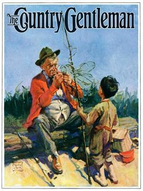"""""""Tangled Fishing Line,"""" Country Gentleman Cover, May 1, 1929 by William Meade Prince"""