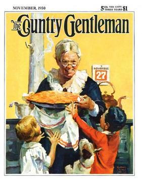"""""""Thanksgiving Pie,"""" Country Gentleman Cover, November 1, 1930 by William Meade Prince"""