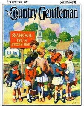 """""""Waiting for School Bus,"""" Country Gentleman Cover, September 1, 1929 by William Meade Prince"""