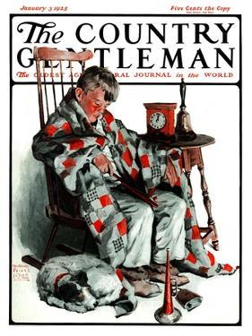 """""""Waiting for the New Year,"""" Country Gentleman Cover, January 3, 1925 by William Meade Prince"""