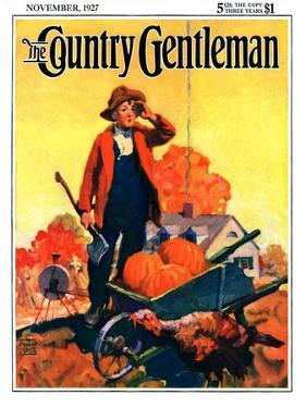 """""""Where's That Turkey?,"""" Country Gentleman Cover, November 1, 1927 by William Meade Prince"""