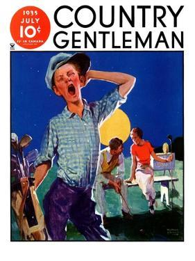 """""""Yawning Caddy,"""" Country Gentleman Cover, July 1, 1935 by William Meade Prince"""