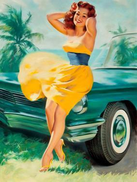 Pin-Up in Yellow Dress, 1950S by William Medcalf