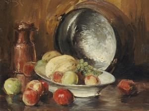 Still Life with Fruit and Copper Pot by William Merritt Chase