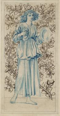 A Woman Playing Cymbals (Pen with Blue and Brown Ink and Watercolour on Discoloured Pale Buff Paper by William Morris
