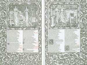 """Illustrated Page from """"The Works of Chaucer,"""" Published by Kelmscott Press, 1896 by William Morris"""