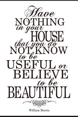 William Morris Useful and Beautiful Plastic Sign