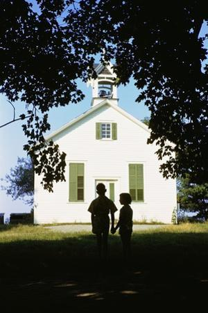 Boy and Girl Waiting Near Schoolhouse by William P. Gottlieb