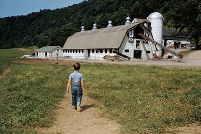 Boy Walking Towards a Barn by William P. Gottlieb