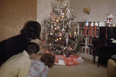 Children Peeking around Corner at Christmas Tree by William P. Gottlieb