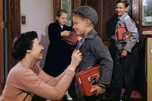 Mother Sending Children Off to School by William P. Gottlieb