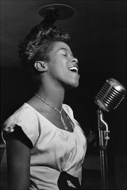 Sarah Vaughan at Microphone by William P. Gottlieb