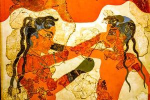 Ancient boxers fresco from Akrotiri Ruins, Santorini Island, Greece 16th Century BC by William Perry