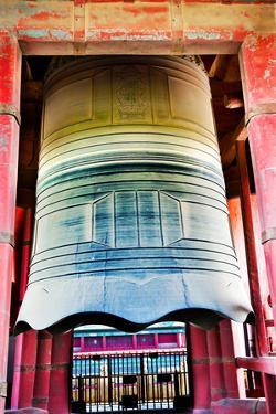 Ancient Red Large Bronze Bell Tower, Beijing, China by William Perry