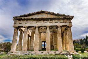 Ancient Temple of Hephaestus. Columns Agora Marketplace, Athens, Greece. by William Perry