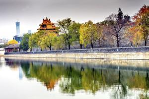 Arrow Watchtower, Gugong, Forbidden City moat and canal, Beijing, China. by William Perry