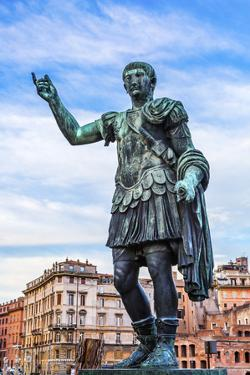August Caesar bronze statue, Rome, Italy. Modeled on ancient statue of Augustus Cesar by William Perry
