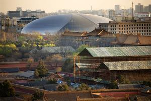 Big Silver Egg Concert Hall Close-Up, Beijing, China. Forbidden City in Foreground by William Perry