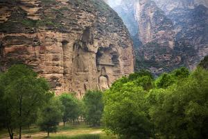 Buddha Statue. Cliff Carving Binglin Si Bright Spirit Buddhist Temple Lanzhou, Gansu, China by William Perry