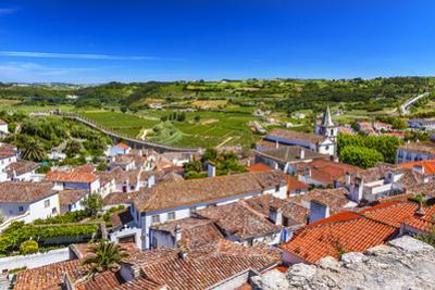 Castle Walls of a Medieval Town, Obidos, Portugal. by William Perry