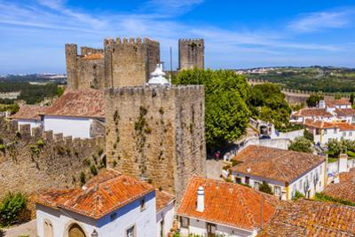 Castle Walls, Turrets and Towers of a Medieval Town, Obidos, Portugal by William Perry