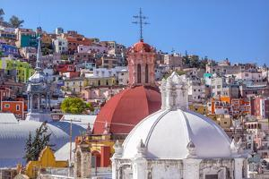 Colored Houses, San Roque Church, Market, Hidalgo, Guanajuato, Mexico by William Perry