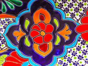 Colorful Souvenir Ceramic Red Blue Flowers Pot Decoration Dolores Hidalgo Mexico by William Perry