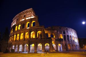 Colosseum Overview Moon Night Lovers, Rome, Italy Built by Vespacian by William Perry
