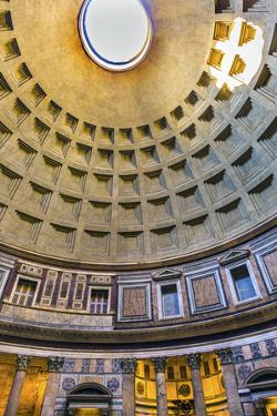 Dome and pillars, Pantheon, Rome, Italy. Rebuilt by Hadrian in 118 to 125 AD. Became oldest Roman c by William Perry