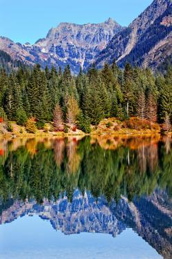 Gold Lake Reflection Mount Chikamin Peak Fall Snoqualmie Pass, Wenatchee National Forest Wilderness by William Perry