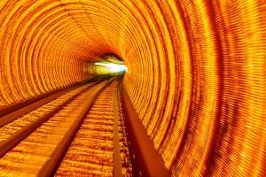 Golden Highway Rail Abstract Underground Railway Pudong Bund Shanghai, China by William Perry