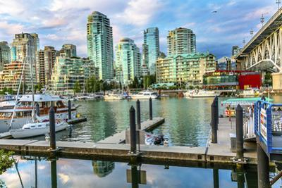 Granville Island, Burrard Street Bridge, yachts and apartment buildings. Vancouver, British Columbi by William Perry